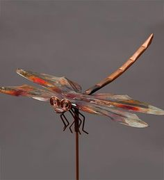 Large Copper Dragonfly Garden Stake
