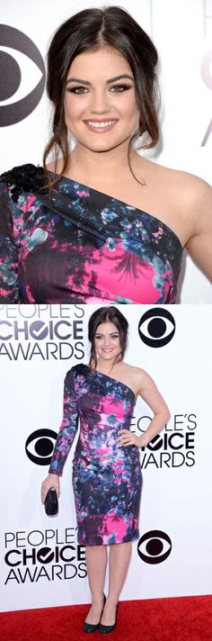 Lucy Hale in a Gabriela Cadena dress at the People's Choice Awards. Makeup by Kelsey Deenihan. Styling by Caley Lawson.