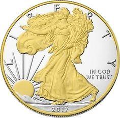 2017 American Silver Eagle  24k Gold Gilded  1oz .999 pure Silver Coin BU