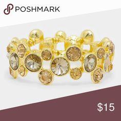 """Crystal Rhinestone Bubble Stretch Bracelet • Style No : [301338]  • Color : Lt Col Topaz, Gold  • Size : 0.8""""W  • STRETCHABLE • Crystal Rhinestone Bubble Stretch Bracelet Jewelry Bracelets"""