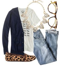 everyday: jeans, leopard flats, tee, cardi, necklace, glasses.