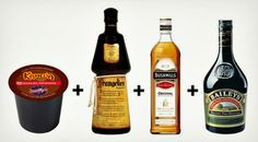 K-Cup Alcoholic Holiday Beverage...These ingredient-friends always show up in drinks both warm and cold together. Now mix them in with a Kahlua coffee K-cup and drink up...  Kahlua K-Cup,   Frangelico Liquer,   Bushmills Irish Whiskey,   Baileys Irish Cream Liqueur