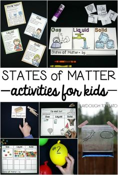Tons of fun states of matter activities for kids! Posters, science experiments, flap books, clip cards... lots of ideas.