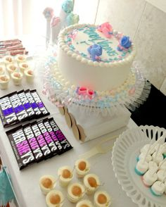 Treats at a Gender reveal baby shower #babyshower #genderreveal