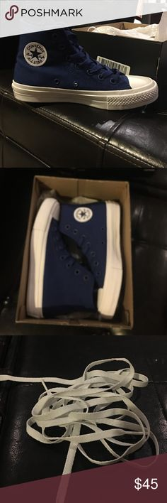 Brand New Blue Converse Brand new w white shoe laces included. I will not include the box because I bought these on vacation and did not have room to take home the box. Smoke free home. Any questions please ask :) Converse Shoes