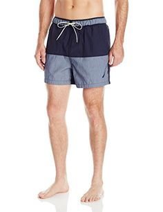 74c49b04d8 Nautica Men's Quick Dry Color Block Swim Trunk: As sporty as they are  sophisticated, these quick dry swim trunks keep your classic style intact  at the beach ...