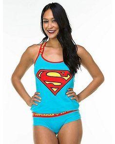 Dc Comics Superman Pajama Set Justice League Tank Pajamas Supergirl  Panties