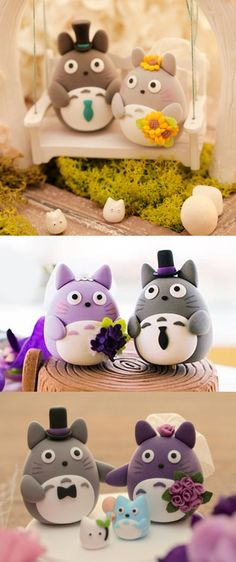 Totoro Wedding Cake TopperShare your special day with Totoro and… Totoro! There's no better way to finish off the wedding cake than having Totoro play the bride and groom. These wedding cake toppers...