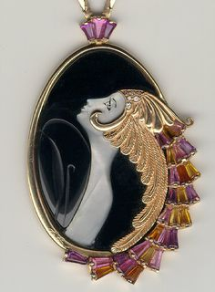 d90883e7aec Erte jewelry gold diamond mother of pearl and black onyx pendant - hints of  Art Nouveau