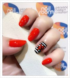 Red chili nails with Lily accent nailart. Products used - Moyou Pro 06 stamping plate, Victoria Beckham 'judo red' , Nails Inc 'queen Victoria street' and Faceshop 'white' www.nailroom.my