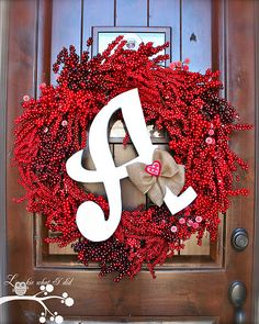 February Initial Wreath love this much better with the red! Valentine Day Wreaths, Valentines Day Decorations, Valentine Crafts, Be My Valentine, Holiday Crafts, Holiday Fun, Christmas Wreaths, Christmas Decorations, Holiday Decor