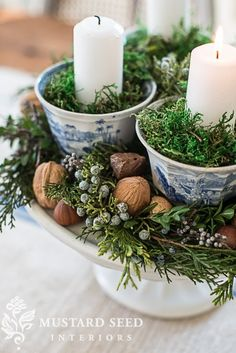 Teacup & cake pedestal advent wreath with mixed greenery and nuts tucked around (cedar, pine, juniper and boxwood).