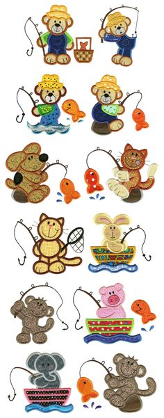 Designs by JuJu Machine Embroidery Designs. Gone Fishing Applique Embroidery Designs