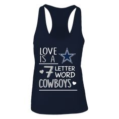 Dallas Cowboys - Seven letter word. This licensed gear is the perfect clothing for fans. Dallas Cowboys Outfits, Dallas Cowboys Football, Fan Shirts, Nfl, Fans, Lettering, Dallas Cowboys, Drawing Letters, Followers