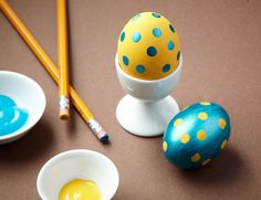 Polka Dot Eggs - To get this cute polka dot look, just paint your eggs, then stamp them with a pencil eraser.