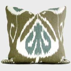 Kravet Taupe and Aqua Blue Ikat Pillow Cover 18x18 by PopOColor, $50.00