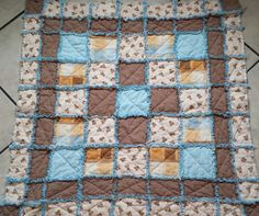 Brown & Blue Teddy Bear Baby Rag Quilt by MelsSimpleCreations