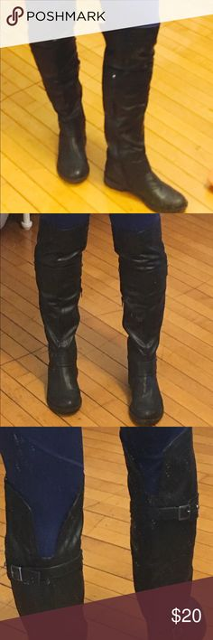 *Like NEW**Over the Knee Faux Leather Boots American Rag tall boots. Worn once with ZERO flaws/signs of wear!!! These come up to just above the knee. Perfect for legs of any size, as the back is v cut. Sturdy faux leather material that you don't have to worry about falling down. Originally from Macys. American Rag Shoes Over the Knee Boots