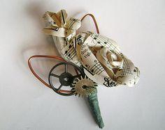 sheet music steampunk gears geek industrial wedding boutonniere buttonhole