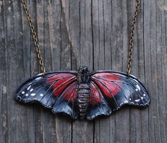 Red Lacewing Butterfly Necklace Polymer by MichellePetersenArt