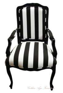 Louis XV style armchair - black and white stripes