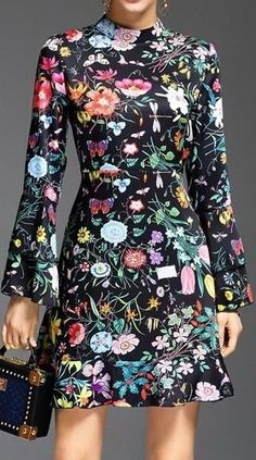 Multi Colored Long-Sleeve Floral Print Dress
