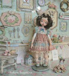 Dolls by Polina Inyakina Tiny Dolls, Ooak Dolls, Blythe Dolls, Pretty Dolls, Beautiful Dolls, Vintage Nursery Decor, Polymer Clay Dolls, Alexander Dolls, Doll Costume