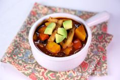 WINNING RECIPE>THE CHEW> : Butternut Squash Chipotle Chili with Avocado by Tracy Christiani