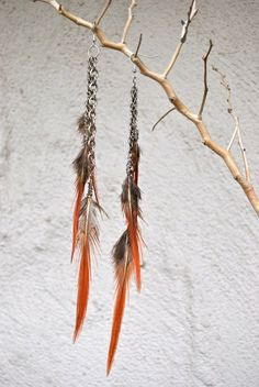 Feathers and Chains  Extra Long Red Dangly Feather by jessamurph, $40.00