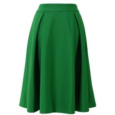 Chicwish Full A-line Midi Skirt in Green (2.265 RUB) ❤ liked on Polyvore featuring skirts, high waisted a line skirt, pleated a line skirt, pleated midi skirt, high waist skirt and pleated skirts