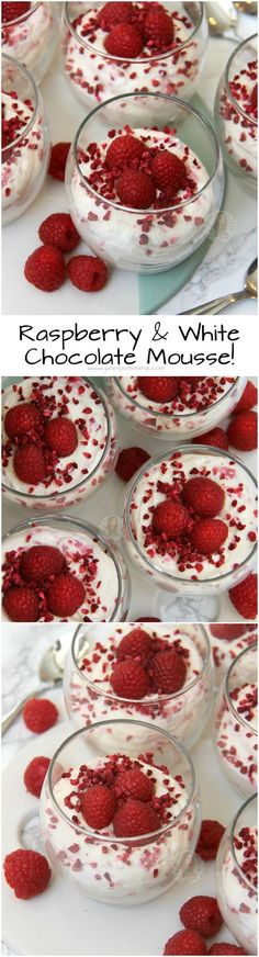 Raspberry & White Chocolate Mousse! ❤️A Really Easy and Simple 3-Ingredient Individual Raspberry & White Chocolate Mousse. Perfect Dessert for any occasion!