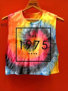 0e89a804c4e The1975 Tye Dye tank top crop Tie dye storm green rainbow neon color tye dye  t