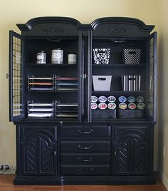 This shelf was DIY spray painted and converted into a craft cabinet!