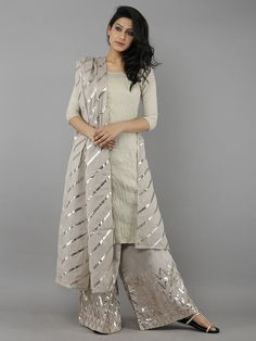 Brown Cotton Gota Dupatta
