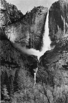 Yosemite Falls by Ansel Adams Ansel Adams Photography, Nature Photography, Urban Photography, Color Photography, Famous Photographers, Landscape Photographers, Yosemite National Park, National Parks, Ansel Adams Photos