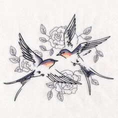 Sweetheart Barn Swallows in Watercolor design from wwwEmblibrarycom The post Sweetheart Barn Swallows in Watercolor design appeared first on Woman Casual - Tattoos And Body Art Barn Swallow Tattoo, Swallow Tattoo Design, Swallow Bird Tattoos, Tiny Bird Tattoos, Cute Tattoos, Flower Tattoos, Body Art Tattoos, Small Tattoos, Tatoos