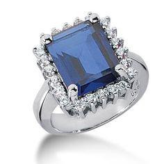 5.9 Ct Diamond Sapphire Ring Engagement Emerald Cut Prong Fashion 14k White Gold by DALESS Diamond Store, http://www.amazon.com/dp/B0068ZOHSC/ref=cm_sw_r_pi_dp_mEHLpb0ERF5AV/175-7141016-1187117