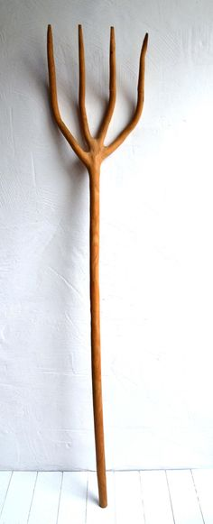 Large Rustic Antique Wooden Hay Fork Primitive Farm Hand Tool Pitchfork Barn Decoration