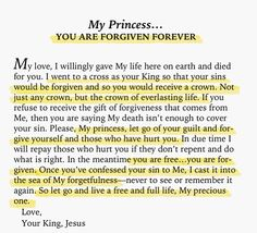 My princess, forgiveness is important ! Faith Quotes, Bible Quotes, Wisdom Bible, Godly Quotes, Gods Princess, Princess Quotes, Royal Princess, Princess Party, Lord And Savior