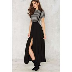 Suspender Your Disbelief Maxi Skirt (€71) ❤ liked on Polyvore featuring skirts, black, slip skirt, black slip, black skirt, black slip skirt and rose skirt