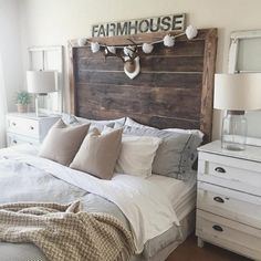 Rustic Farmhouse Bedroom Ideas For A Rustic Country Home more search: farmhouse bedroom decorating ifarmhouse decorating ideas bedroom, deas, farmhouse master bedroom ideas, farmhouse style bedroom ideas, modern farmhouse bedroom ideas. Rustic Headboard Diy, Modern Farmhouse Bedroom, Farmhouse Master Bedroom, Master Bedroom Design, Home Decor Bedroom, Bedroom Ideas, Farmhouse Style, Rustic Farmhouse, Rustic Style