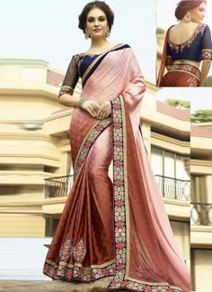 Stylish Pink And Rust Shaded Embroidery Work Casual Sarees