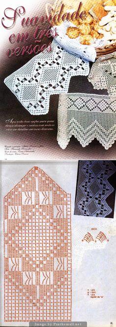 Filet crochet lace edging, openwork inverted zigzags with central diamond ~~ http://crocheartemanuais.blogspot.com/2013/12/barradinhos_7447.html