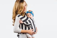ACK Wrap Charcoal and White Stripe #babywearing #babywrapcarrier #infantbonding #attachmentparenting #austinlocal #supportsmallbusinesses