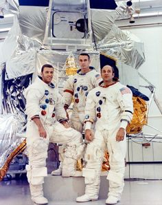 ( or ) Apollo 14 backup crew (left to right) of Joe Engle (LMP), Gene Cernan (CMDR) and Ronald Evans (CMP) pose in front of a LM mock-up at KSC. 22 January Research by J. Eugene Cernan, Apollo Spacecraft, Photo Art Gallery, Apollo Space Program, Nasa Photos, Apollo Missions, Nasa Astronauts, Space Travel, Space Exploration