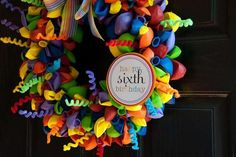 "Balloon Wreath ""Faith's 6th Rainbow Art Party"" | CatchMyParty.com.  See tutorial on howdoesshe.com/birthday-wreath"