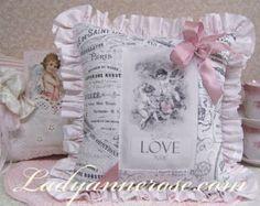 Cherub pillow, Love pillow, pink ribbon pillow, cosmetic pillow, valentine's day pillow