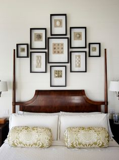 I like the mix of cherry antique looking bed and more modern looking mounted lights and picture frame collage...I would make some changes, but I always love inspiration on mixing the old with the new! It sometimes can be a challenge!