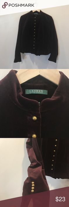 Ralph Lauren Velvet Jacket size 12 Beautiful Ralph Lauren Velvet Jacket. This Jacket is preloved but in EUC. It is a size 12 and free of rip, stains, and holes. It is a beautiful deep wine color. If you have any questions please ask. I welcome offers  Ralph Lauren Jackets & Coats