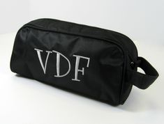 This toiletry bag can be personalized with a any monogram! Makes a great, inexpensive gift for guys or gals!